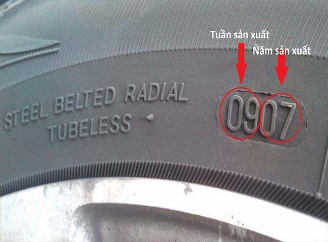 Ví dụ: số 0907 dập nổi trên lốp có nghĩa là: Lốp được sản xuất vào tuần thứ 9 của năm 2007.