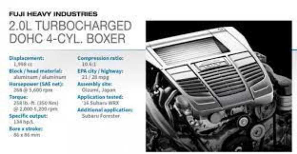 Động cơ Turbocharged DOHC 4-cyl. Boxer 2.0L (Subaru WRX)